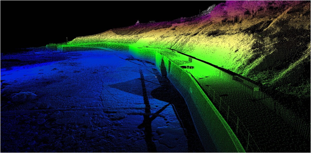 Image produced by laser scanning of sea defences at Lyme Regis for the South West Regional Coastal Monitoring Programme's Plymouth Coastal Laboratory